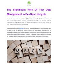 The Significant Role Of Test Data Management In DevOps Lifecycle