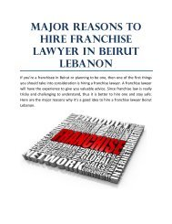 Major Reasons to Hire Franchise Lawyer in Beirut Lebanon
