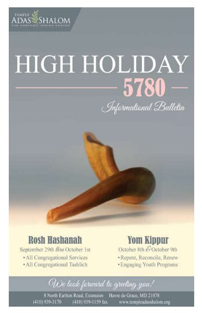 High Holiday 5780 Informational Bulletin