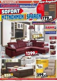 Sofort mitnehmen & sparen: Kranepuhls Optimale Möbelmärkte