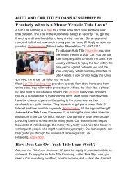 Get Auto Title Loans Kissimmee FL | 321-697-7117