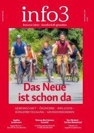 Anzeigen, Zeitschrift info3, September 2019