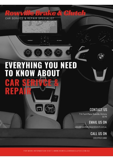 Everything You Need To Know About Car Service and Repair