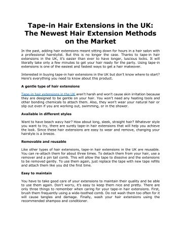 Tape-in Hair Extensions in the UK: The Newest Hair Extension Methods on the Market