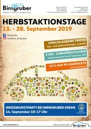 Herbstaktionstage bei Birngruber Krems & Langenlois