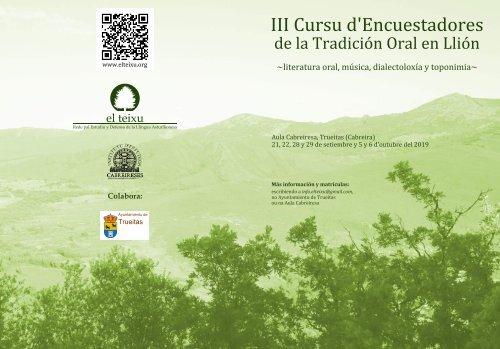 III Cursu d'Encuestadores de la Tradición Oral en Llión - Programa