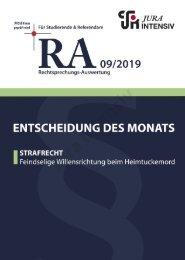 RA 09/2019 - Entscheidung des Monats