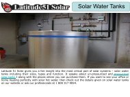 Un-Pressurized and Pressurized Solar Tanks