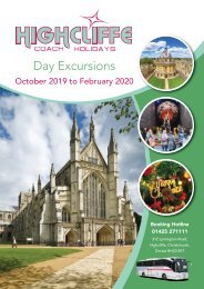 Highcliffe Coach Holidays - Day Excursions - Oct 2019 to Feb 2020