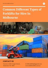 Common Different Types of Forklifts for Hire In Melbourne