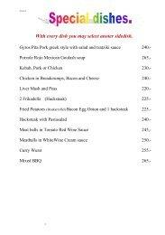 O&D restaurant menu