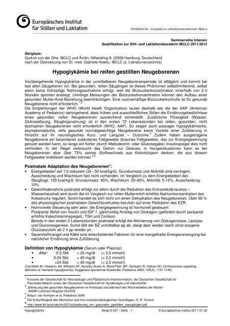 Hypoglykämie bei reifen gestillten Neugeborenen - Europäisches ...