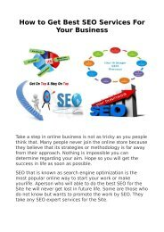 How to Get Best SEO Services For Your Business