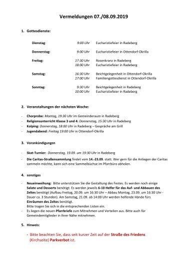 Vermeldungen KW37/19 - 2019-09-08 - 23. Sonntag im Jahreskreis