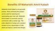 Benefits Of Maharishi Amrit Kalash
