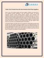 Order Your Product from the Best Stainless Steel Pipe Suppliers