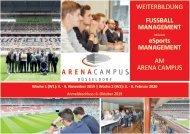 Infobroschuere Weiterbildung Fußball Manager am Arena Campus 2019