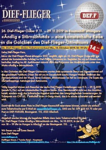 Musikkabarett «Ändlig e Stärnschtund»  26. Dief-Flieger Oobe immer Fr./Sa. vom 9.11. – 29.11.2019 im Hangar in Allschwil