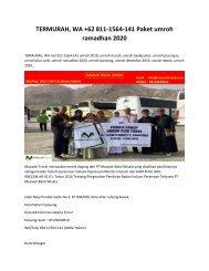 TERMURAH, WA +62 811-1564-141 Paket umroh ramadhan 2020