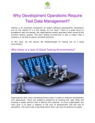 Why Development Operations Require Test Data Management