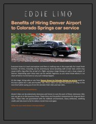 Denver Airport Car Service, Limo services