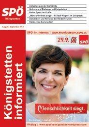 SPÖ Königstetten informiert - September 2019