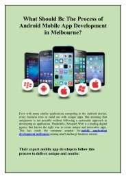 What Should Be The Process of Android Mobile App Development in Melbourne?