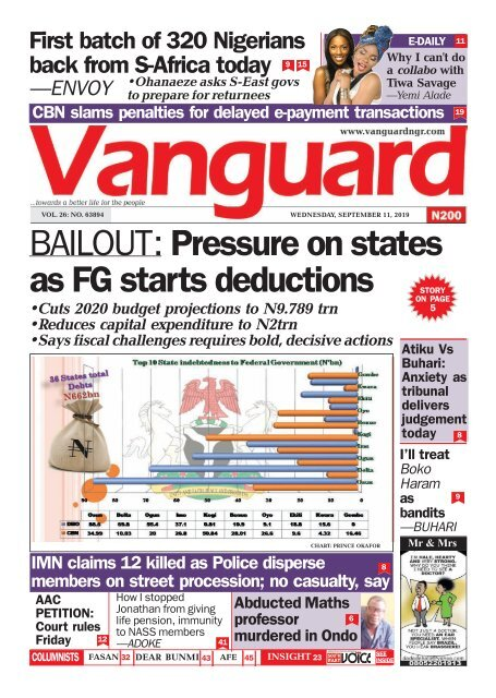 11092019 - BAILOUT: Pressure on states as FG starts deductions