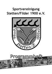 Programmheft der SpVgg Stetten/Filder 1900 e.V. - Liederkranz ...