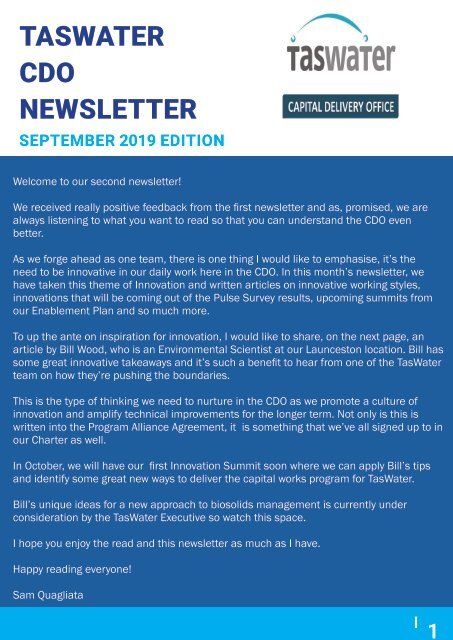 TasWater CDO Newsletter September 2019
