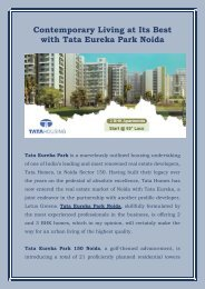 Contemporary Living at Its Best with Tata Eureka Park Noida