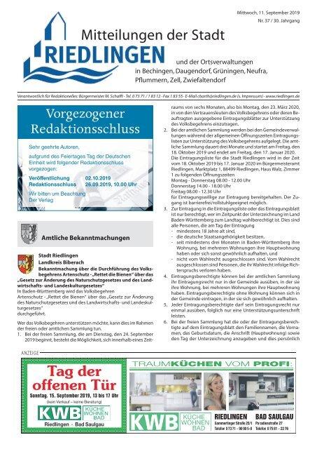 Amtliches Mitteilungsblatt Riedlingen 11.09.2019