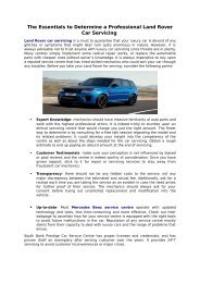 The Essentials to Determine a Professional Land Rover Car Servicing