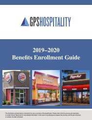 GPS Hospitality - Benefits Enrollment Guide