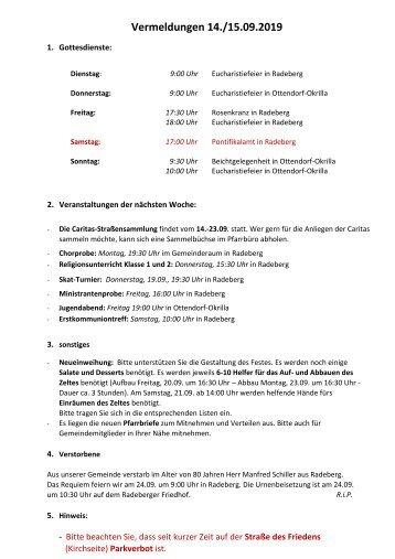 Vermeldungen für KW38/19 - 2019-09-15 - 24. Sonntag im Jahreskreis