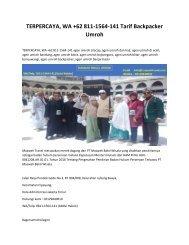 TERPERCAYA, WA +62 811-1564-141 Tarif Backpacker Umroh