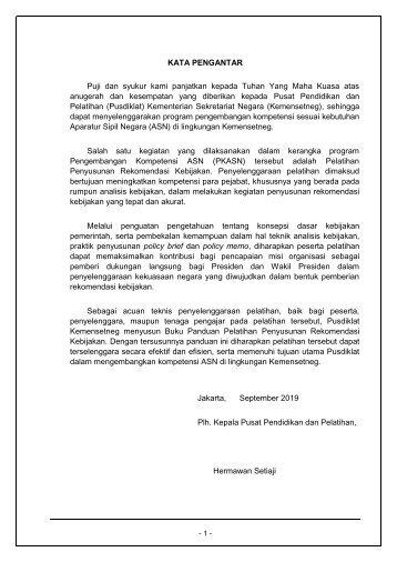 BUKU PANDUAN_Pelatihan rekomendasi kebijakan_2019