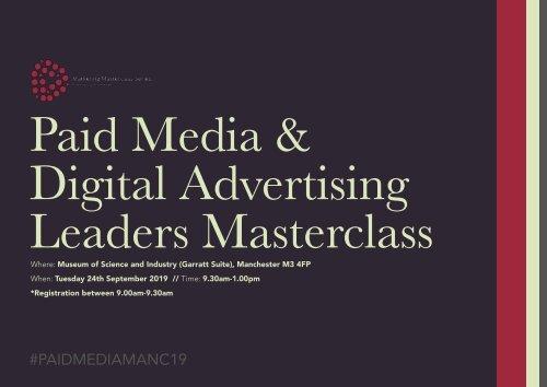 Paid Media & Digital Advertising Leaders Masterclass 2019 (Official Brochure)