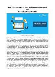 Web Design and Application Development Company in India
