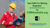 CDR for Mining Engineer (Excluding Petroleum) Australia