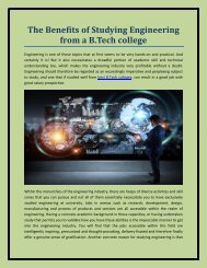 The Benefits of Studying Engineering from a B.Tech college