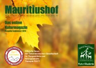 Mauritiushof NaturMagazin Ausgabe September 2019