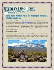 Some Basic Packsack Needs for Kilimanjaro Trekking