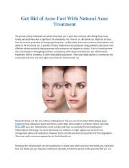 Get Rid of Acne Fast With Natural Acne Treatment