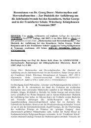 Dr. Georg Doerr -- Rezensionen von: Muttermythos und Herrschaftsmythos -- Zur Dialektik der Aufklärung um die Jahrhundertwende bei den Kosmikern, Stefan George und in der Frankfurter Schule. K. & N.: Würzburg 2007. 2. Auflage (eBook):   K. & N. 2019.