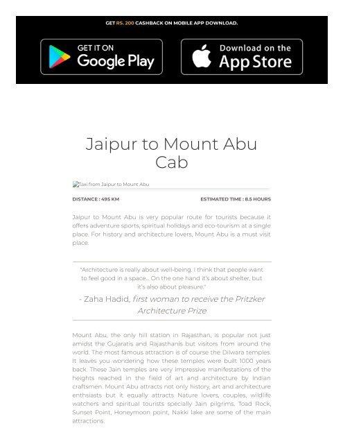 Jaipur to Mount Abu Cab | Jaipur to Mount Abu Taxi
