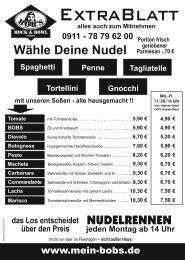 BOB's Rock & Bowl Fürth Nudelkarte