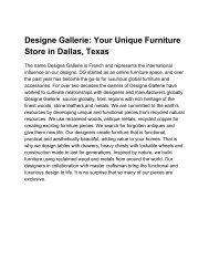 Designe Gallerie: Your Unique Furniture Store in Dallas, Texas