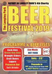 Programme for 2019 Langley Park Charity Beer Festival
