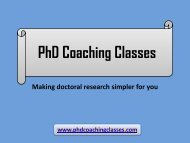 PhD Thesis Writing Services in India - PhD Coaching Classes